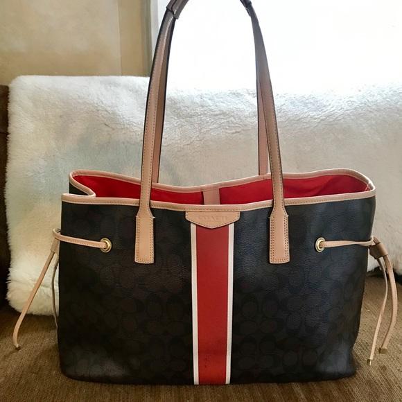 Coach Handbags - Coach Signature Stripe Carryall #D1481- F30521